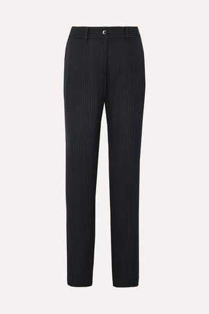Lita Striped Satin-jacquard Wide-leg Pants - Midnight blue