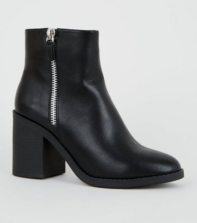 Black Leather-Look Zip Side Heeled Boots   New Look