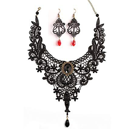 red and black necklaces and earrings - Google Search