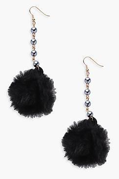 Jessica Faux Fur Pom Bead Detail Earrings