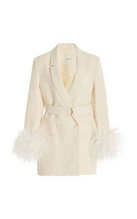 Exclusive Belted Feather-Trimmed Crepe Blazer By Lapointe | Moda Operandi