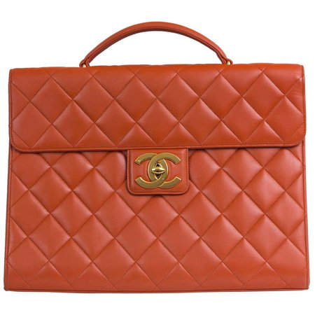 Chanel Orange Lambskin Briefcase For Sale at 1stDibs