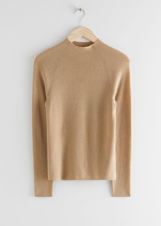 Fitted Mock Neck Merino Wool Sweater - Beige - Sweaters - & Other Stories