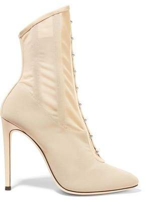 Janice Leather-trimmed Mesh Ankle Boots