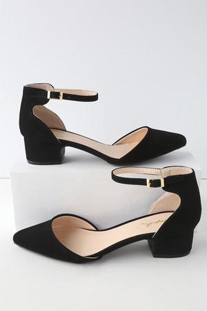 Cute Black Heels - Nubuck Ankle Strap Pumps - Block Heel Pumps