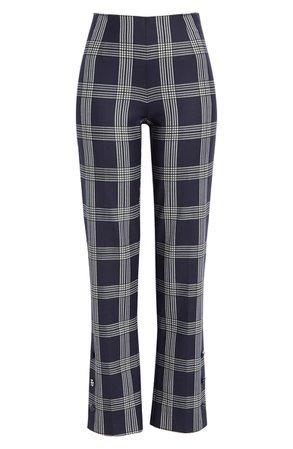 Lela Rose Plaid Button Cuff Straight Leg Pants | Nordstrom