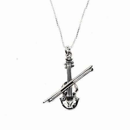 Sterling Silver Violin Necklace - Contagious Designs