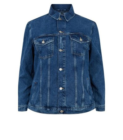 Curves Blue Oversized Denim Jacket | New Look