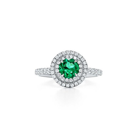 Tiffany Soleste® ring in platinum with diamonds and an emerald.   Tiffany & Co.