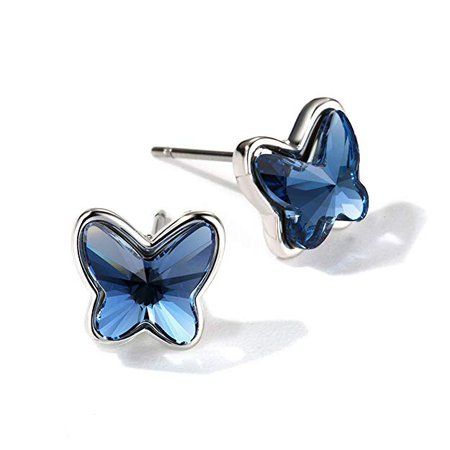 Amazon.com: T400 Blue Purple Pink Made with Swarovski Elements Crystal Butterfly Earrings Lever Back ♥ Birthday Gift for Women Girls: Jewelry