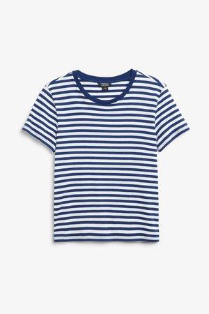 Soft tee - Blue stripes - Tops - Monki GB
