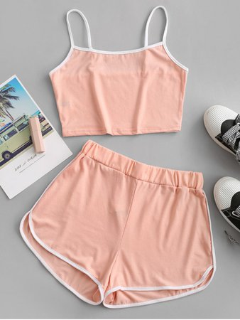 [32% OFF] [POPULAR] 2020 ZAFUL Ringer Sporty Cami Top And Dolphin Shorts Set In LIGHT PINK | ZAFUL