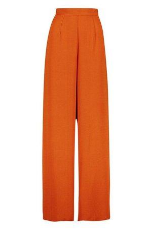 Woven Side Split Wide Leg Trousers | Boohoo