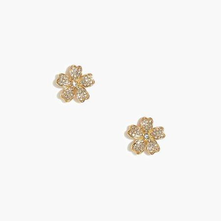 PavA crystal floral stud earrings