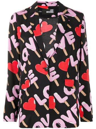Love Moschino Blazer Estampado Con Botón - Farfetch