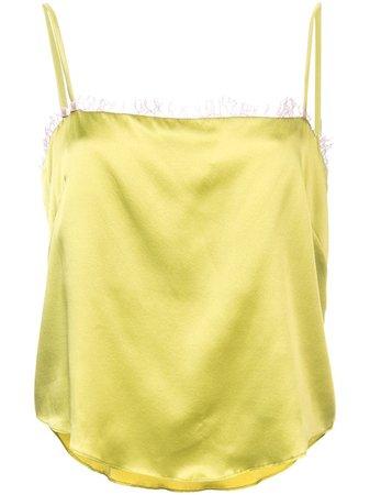 Fleur Du Mal Straight Neck Cami Top TP01390415 Green | Farfetch