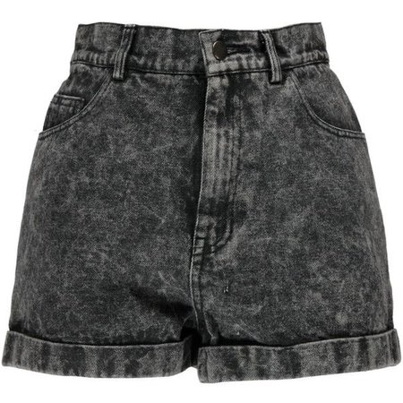 Boohoo Alice Grey Acid Wash High Waist Denim Shorts