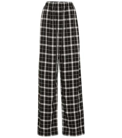 Checked high-rise straight pants