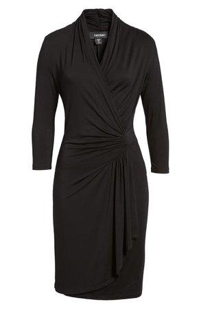 Karen Kane Cascade Faux Wrap Dress (Women)  black