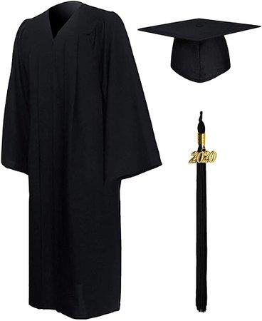 "Amazon.com: GraduationMall Matte Graduation Gown Cap Tassel Set 2020 for High School and Bachelor Black 54(5'9""-5'11""): Clothing"