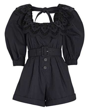 Self-Portrait Poplin Ruffled Eyelet Romper | INTERMIX®