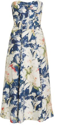 Dasha Strapless Floral-Print Linen-Blend Midi Dress