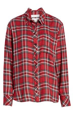 Treasure & Bond Plaid Boyfriend Shirt (Regular & Plus Size) red