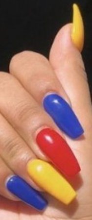 red blue and yellow nails