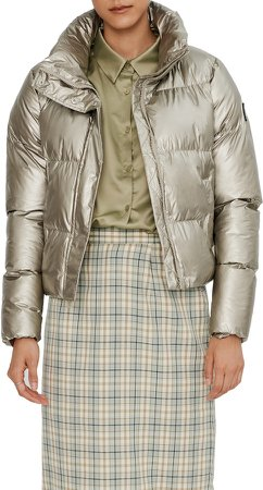 Crop Metallic Puffer Jacket