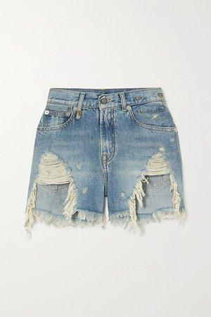 Light denim Distressed denim shorts | R13 | NET-A-PORTER
