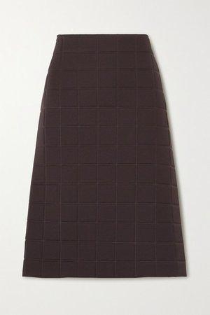Quilted Gabardine Midi Skirt - Brown
