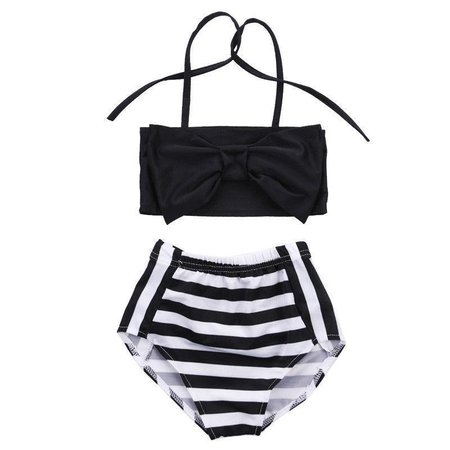 Toddler Girl Black Striped Swimsuit – The Trendy Toddlers