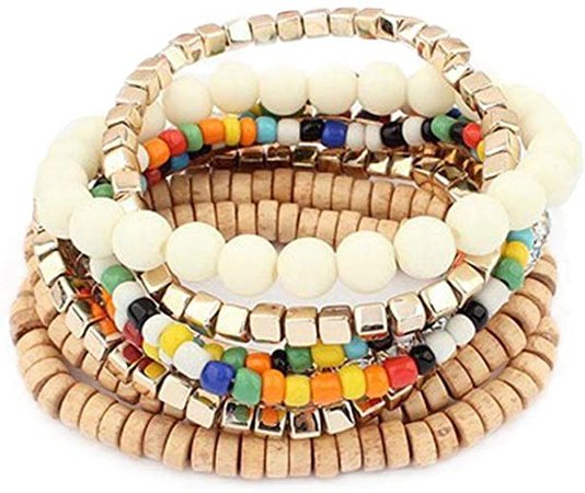 Amazon.com: YAZILIND Multi Layer Strand Sparkly Stack Bracelets Colorful Beaded Statement Stretch Bangle Set Multicolor: Jewelry