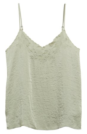 Lucky Brand Embroidered Hammered Satin Camisole green