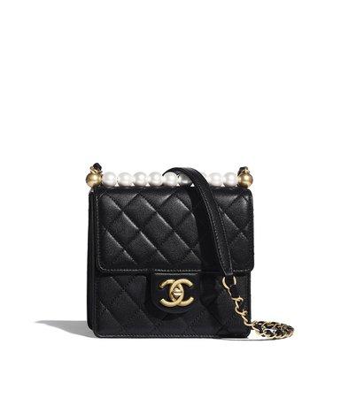 Flap Bag, goatskin, imitation pearls & gold-tone metal, black - CHANEL