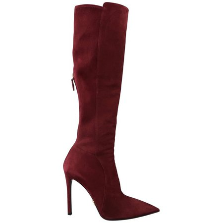 PRADA Size 8.5 Burgundy Suede Pointed Knee High Stiletto Boots For Sale at 1stdibs