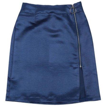 Blue Satin Mini Skirt With Zipper