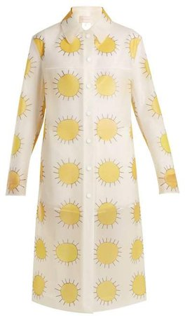 Sun Print Frosted Rubberised Coat - Womens - Yellow Multi
