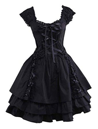 Amazon.com: Ainclu Womens Classic Black Layered Lace-up Cotton Lolita Dress: Clothing