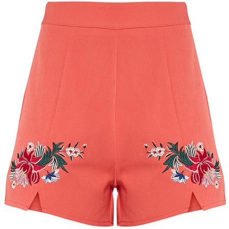 PrettyLittleThing Charis Coral Floral Embroidered Shorts - Buscar con Google
