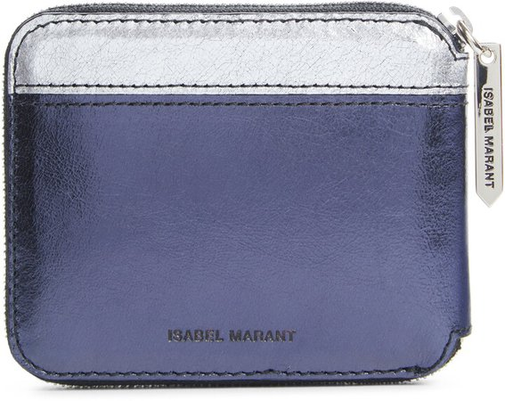 Daniil Metallic Leather Zip Around Wallet