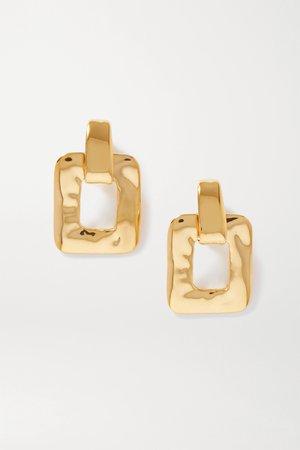 Gold Oversized gold-tone clip earrings | SAINT LAURENT | NET-A-PORTER