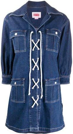 lace-up denim shirt dress
