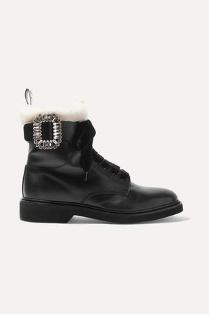 Ranger Shearling-lined Crystal-embellished Leather Ankle Boots - Black