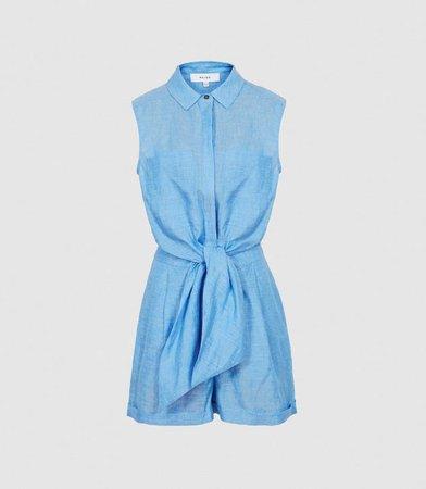 Ema Blue Linen Playsuit – REISS