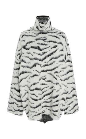 Brock Collection- Zebra-Print Brushed Mohair-Blend Turtleneck Sweater