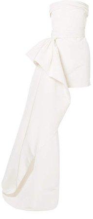 Asymmetric Draped Silk-faille Mini Dress - Ivory