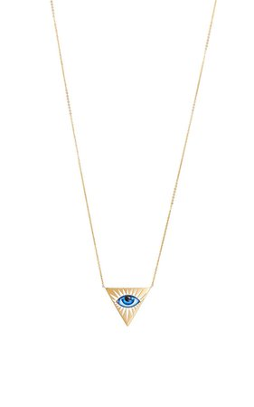 14K Gold Small Blue Enamel Eye Necklace by Lito | Moda Operandi