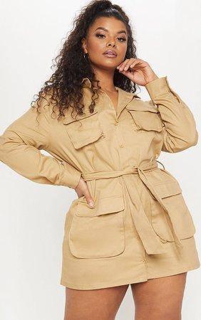 Plus Camo Utility Tie Waist Shirt Dress | PrettyLittleThing USA