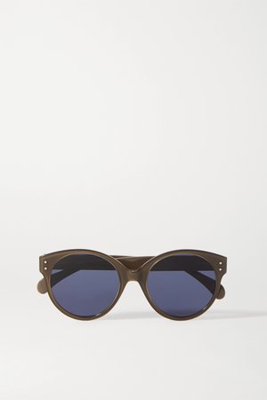 Brown Round-frame eyelet-embellished acetate sunglasses | Alaïa | NET-A-PORTER